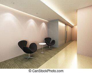 oficina, pasillo, área