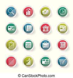 oficina, plano de fondo, encima, empresa / negocio, coloreado, iconos, internet