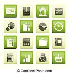 oficina, plano de fondo, encima, realista, color del negocio, iconos, internet