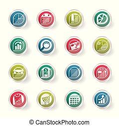 oficina, plano de fondo, estilizado, encima, empresa / negocio, coloreado, iconos, internet
