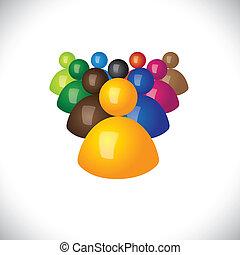 oficina, político, graphic., miembros, comunidad, señales, personal, y, ganador, -, equipo, también, seguidores, líder, 3d, colorido, ilustración, liderazgo, representa, esto, empleados, iconos, o, vector, perdedores