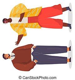 oficina, posición, ropa, mujer, caricatura, hombre barbudo, de piel oscura, hablar., brillante, caracteres
