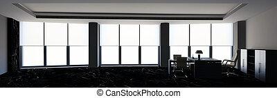 oficina, rendering., 3d, interior., moderno