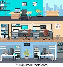 oficina, room., diseño de interiores, ilustración