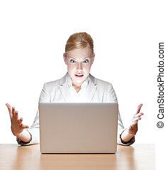 oficina, sentado, mujer de negocios, computador portatil, joven, escritorio