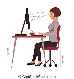 oficina, sentado, posición, escritorio, correcto, postura