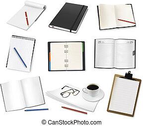 oficina, supplies., vector., algunos