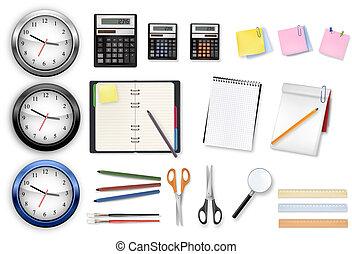 oficina, supplies., vector.