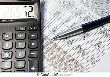 oficina, tabla, con, calculadora, pluma y, contabilidad, documento