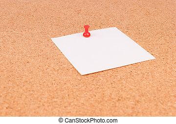 oficina, tablero del corcho, para, notas