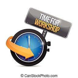oficina, tempo, ilustração, sinal