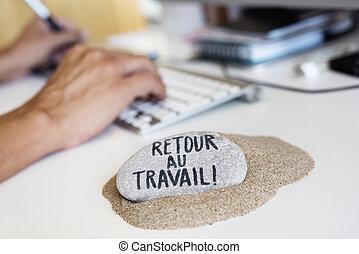 oficina, texto, espalda, trabajo, francés, hombre