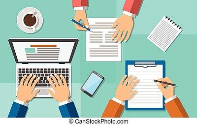 oficina, trabajo en equipo, reunión negocio