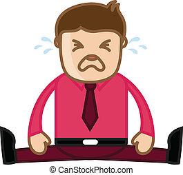 oficina, -, vector, llanto, caricatura, hombre