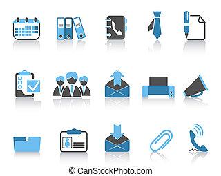 oficina, y, iconos del negocio, azul, serie