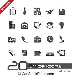 oficina, y, iconos del negocio, //, fundamentos