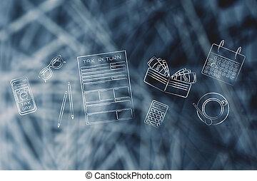 oficina, y, impuesto, alarma, formas, teléfono, objetos, escritorio