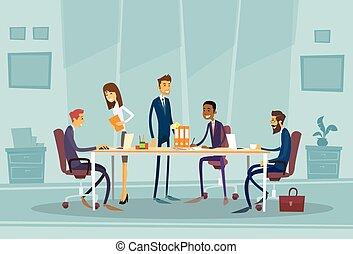 oficinacomercial, gente, reunión, escritorio, discutir