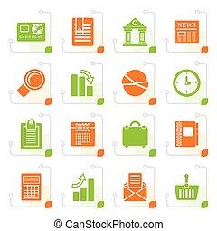 oficinacomercial, iconos, estilizado, realista, internet
