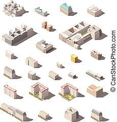 oficinas, vector, o, infographic, elementos, poly, bajo, minimalistic, edificios, conjunto, ciudad, hogares, isométrico, icono, mapa