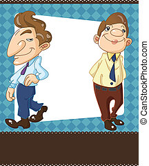 oficinista, caricatura, tarjeta