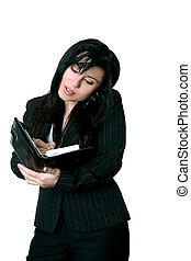 oficinista, elaboración, un, diario, cita
