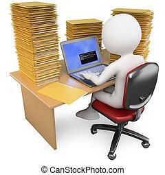 oficinista, mucho, oficina, trabajando, 3d