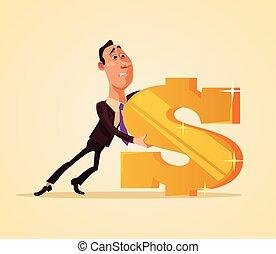 oficinista, vector, signo., dólar, caricatura, tirón, plano, ilustración, hombre de negocios, carácter