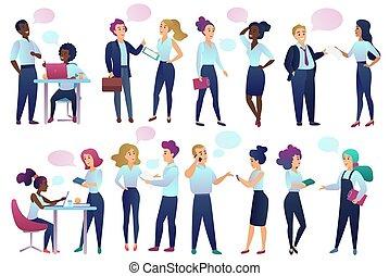 oficinistas, gente, con, charla, comunicación, burbujas, hablar, cada, otro., varón y hembra, empresarios, el comunicarse, y, discutir, con, amigos, vector, illustration.