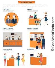 oficinistas, mostrador, work., servicio
