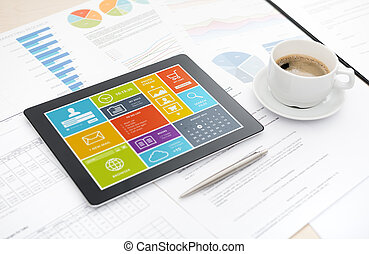 ofiice, íróasztal, modern, tabletta, digitális