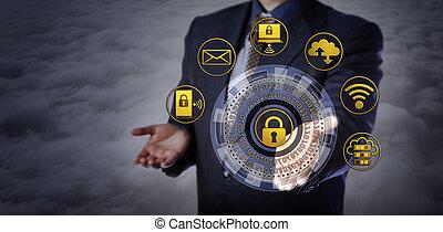 ofrecimiento, cybersecurity, mecanismo, encima de las nubes