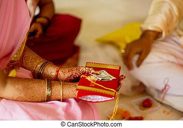 ofrecimiento, sobre del dinero, indio, dama, rojo