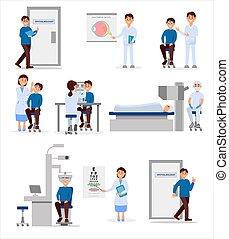 oftálmico, situations., atención sanitaria, work., vector, médico, concept., pacientes, profesionales, conjunto, plano, hospital, diferente, ilustración, tratamiento, trabajadores