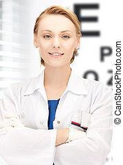 oftalmólogo, eye la carta, hembra