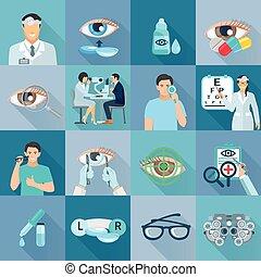 oftalmolog, sätta, oculist, lägenhet, ikonen