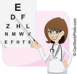 oftalmolog, syn, testning, kartlägga, flicka, tecknad film
