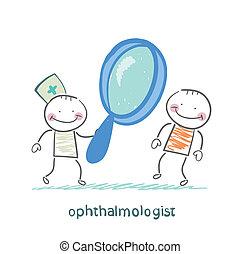 oftalmolog, tålmodig, titta glas, genom, förstorar