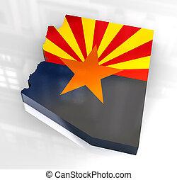 og, アリゾナの旗, 地図, 3d