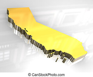 og, dorado, 3d, mapa de california