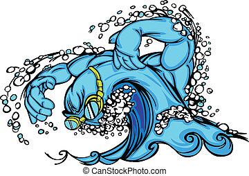 og, image, bølge, vektor, dykning, svømning