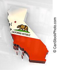 og, mapa, bandera, california, 3d