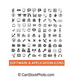og, sæt, iconerne, ansøgning, vektor, softwaren