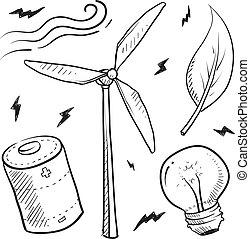 oggetti, energia, vento, schizzo