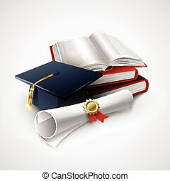 oggetti, graduazione, ceremony.