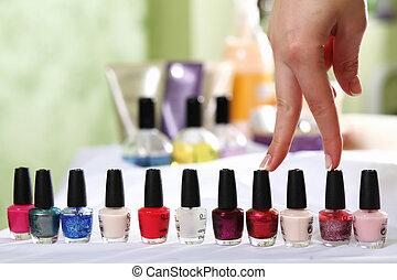 oggetti, manicure, relativo, femmina porge