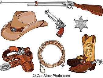oggetti, set, cowboy