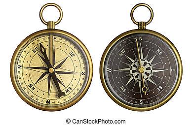 oggetto antiquariato vecchio, collection., bussola, due, isolato, tasca, white., nautico, ottone, invecchiato