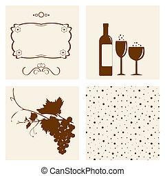 oggetto, cantina, silhouettes., disegno
