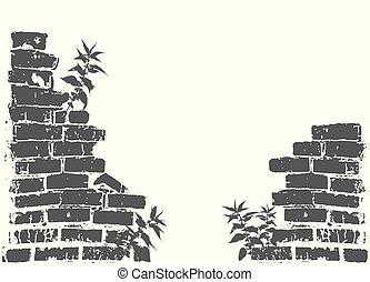oggetto, parete, growing., rotto, fondo., vettore, silhouette, muratura, ortiche, isolato, bianco, rovinato